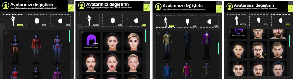 avatar değiştirme ekranı